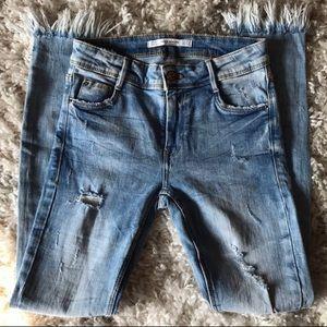 Zara TRF Frayed Hem Skinny Jeans